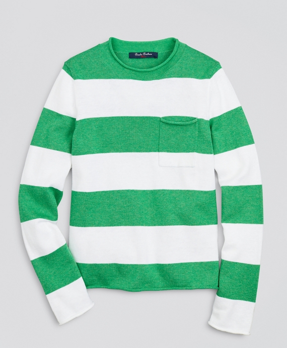 Boys Cotton and Linen Stripe Sweater Green-White
