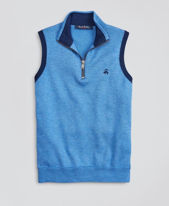 Boys Supima® Cotton-Blend Half-Zip Sweater Vest Blue