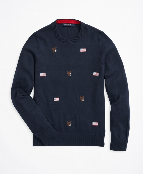 Boys Cotton Embroidered Sweater Navy