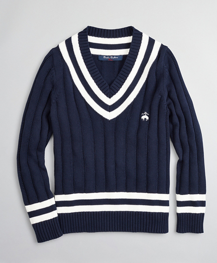 Boys V-Neck Cotton Tennis Sweater