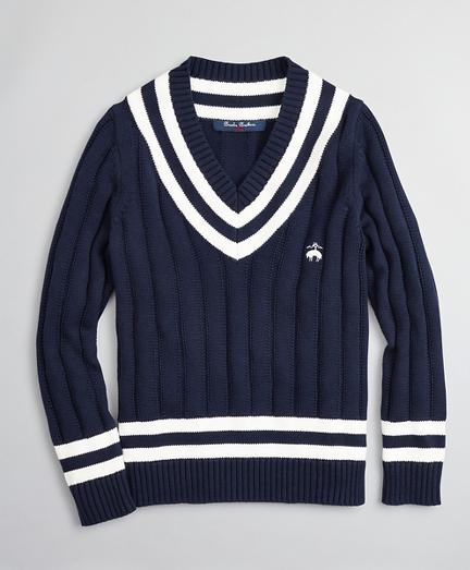 Brooksbrothers Boys V-Neck Cotton Tennis Sweater