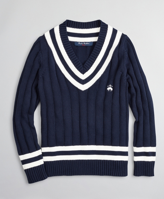 Boys V-Neck Cotton Tennis Sweater Navy