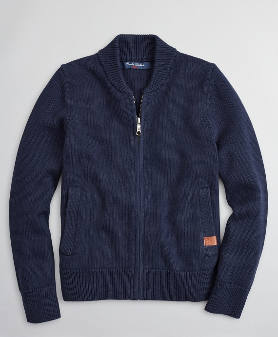 Boys Full-Zip Cotton Baseball Sweater Navy