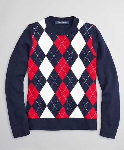 Boys Cotton Argyle Crewneck Sweater