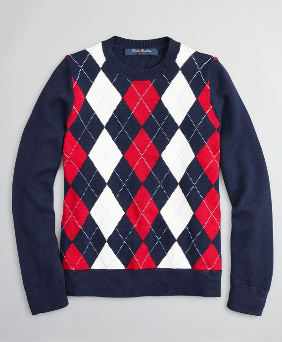 Boys Cotton Argyle Crewneck Sweater Navy-Red