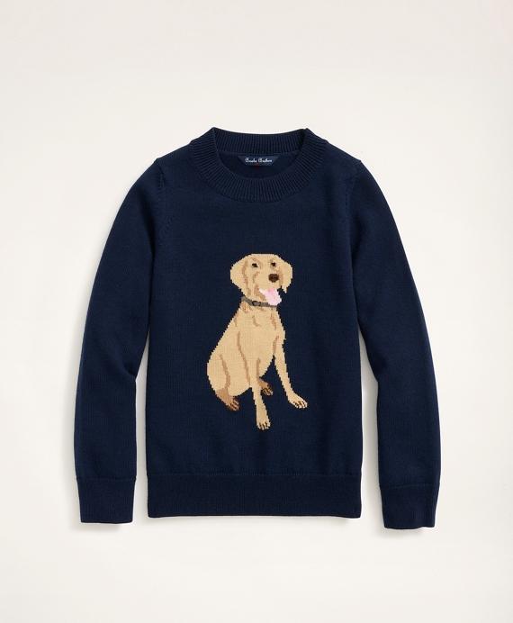 Boys Merino Wool Dog Intarsia Sweater Navy