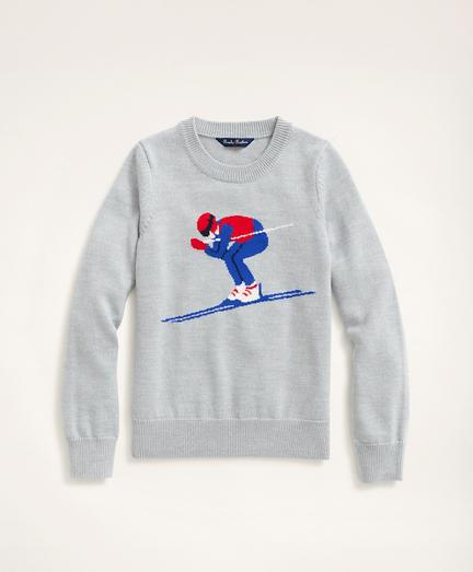 Boys Merino Wool Skiing Intarsia Sweater