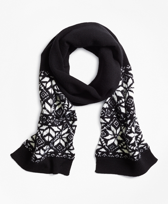 Boys Wool Blend Snowflake Fair Isle Scarf Black-White