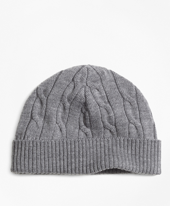Boys Merino Wool Cable Hat Grey