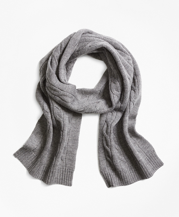Boys Merino Wool Cable Scarf Grey