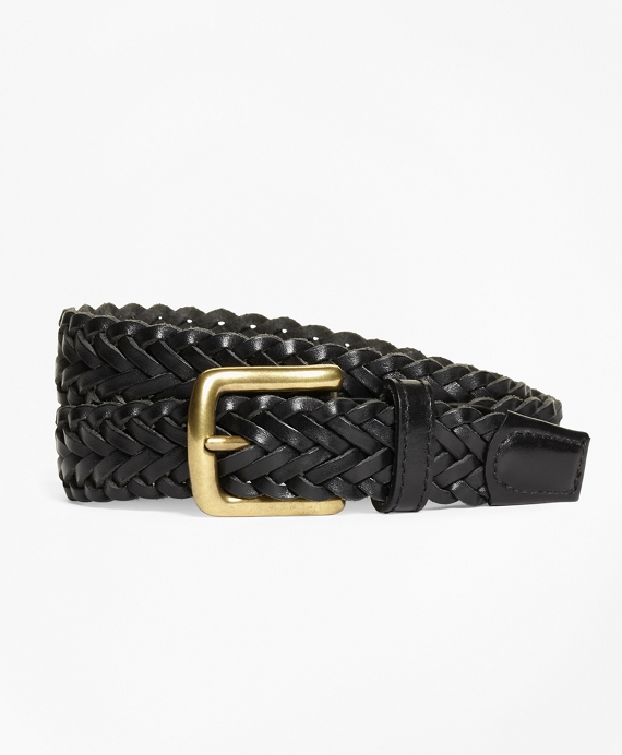 Boys Braided Leather Belt Black