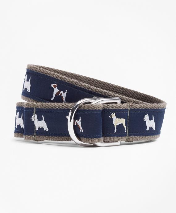 Boys Dog Ribbon Belt Navy