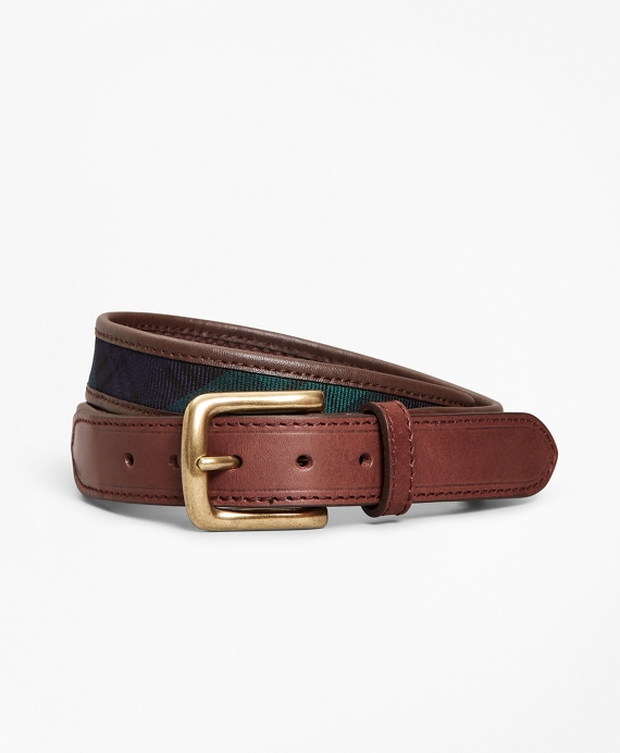 Boys Leather and Canvas Black Watch Belt Navy-Green