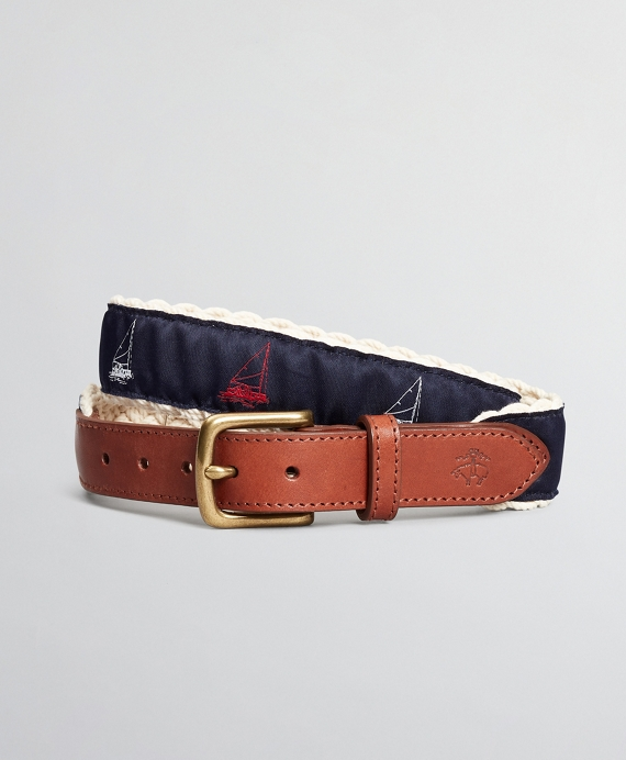 Boys Casual Woven Embroidered Belt Navy
