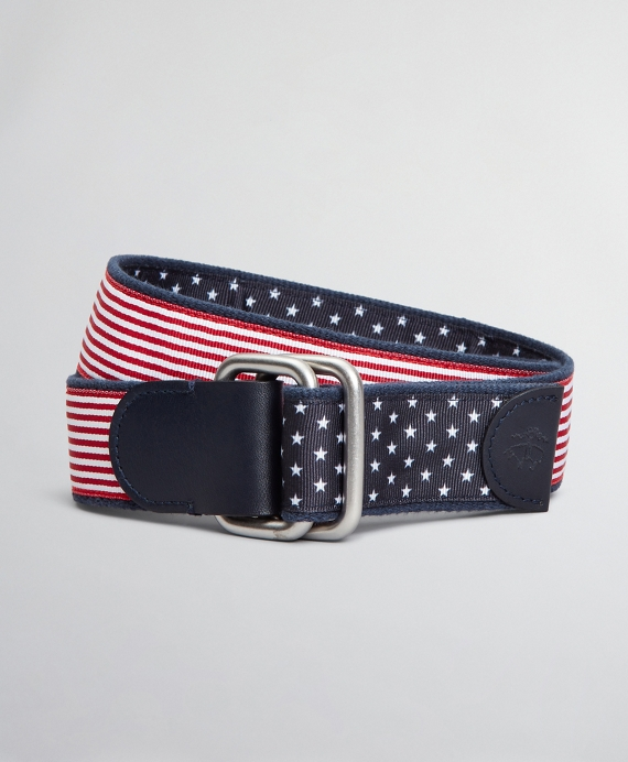 Boys Reversible Stars and Stripes Belt Red-Navy