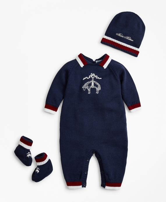 Boys Knit Wool Bodysuit, Hat & Booties Set - 3 Months Navy