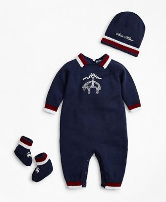 Boys Knit Wool Bodysuit, Hat & Booties Set - 3 Months