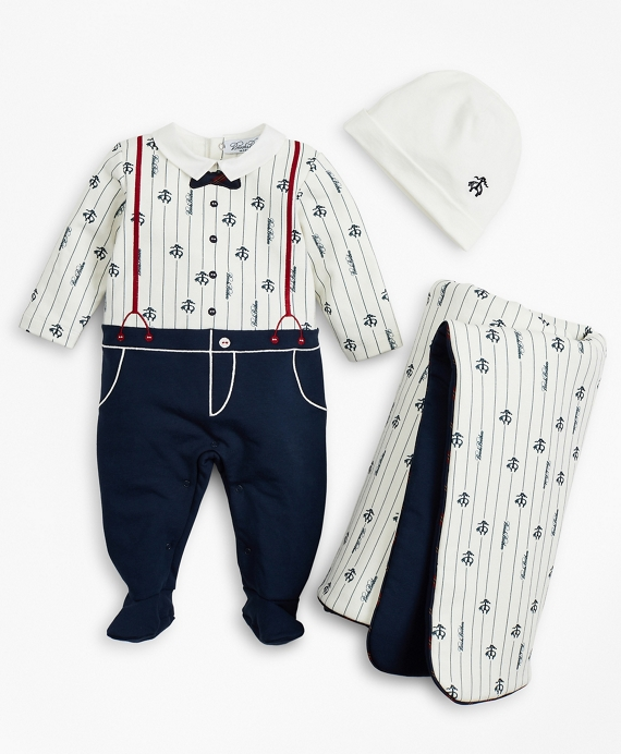 Boys Pinstripes & Suspenders Stretch Cotton Footie, Hat & Blanket Set - 6 Months White