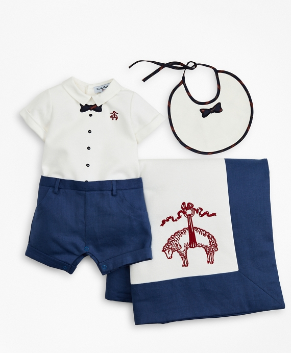 Boys Bowtie Shortall, Bib & Blanket Set - 9 Months White
