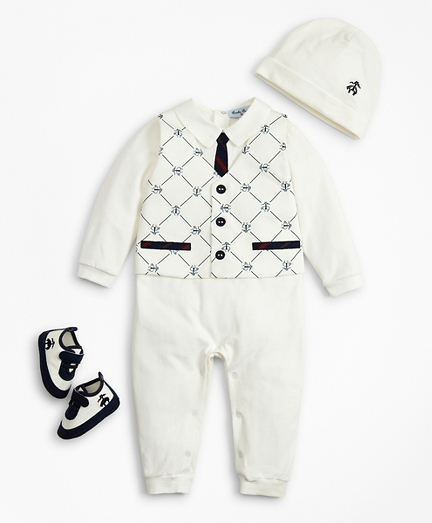 Boys Vest Coverall, Hat & Booties Set - 12 Months