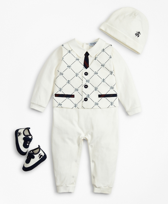 Boys Vest Coverall, Hat & Booties Set - 12 Months White