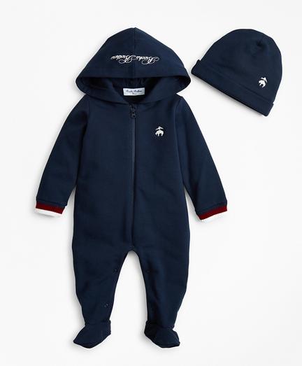 Boys Hooded Footie & Hat Set - 6 Months