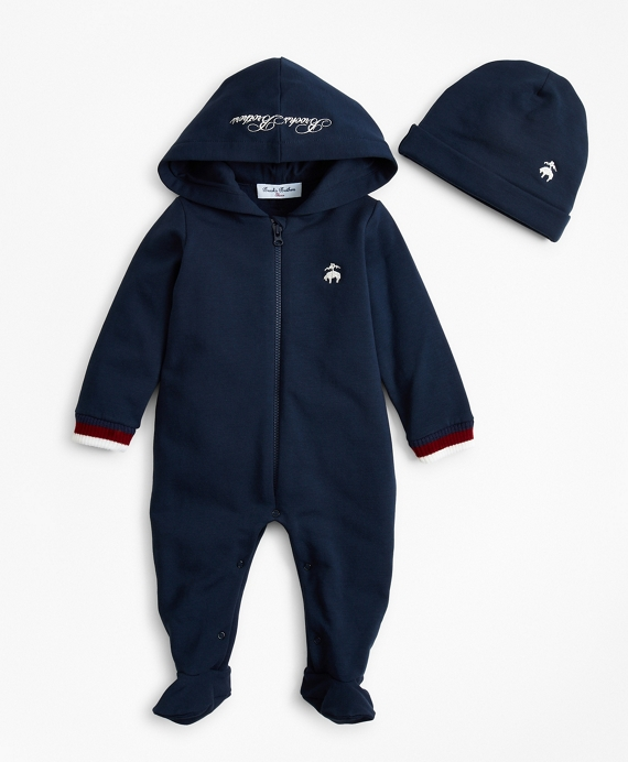 Boys Hooded Footie & Hat Set - 6 Months Navy
