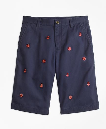 Boys Washed Cotton Stretch Chino Shorts