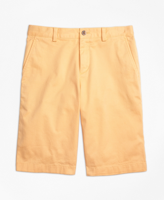 Washed Cotton Stretch Chino Shorts Orange