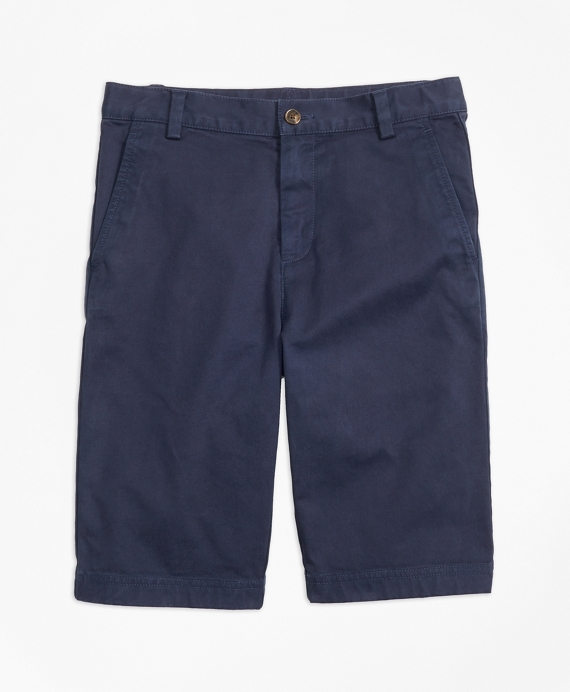 Boys Washed Cotton Stretch Chino Shorts Navy