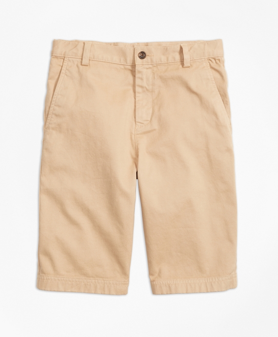 Boys Washed Cotton Stretch Chino Shorts Khaki