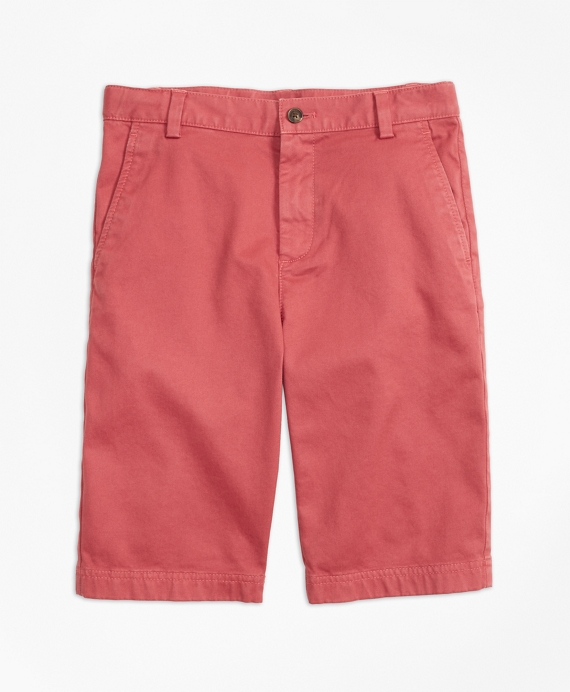 Boys Washed Cotton Stretch Chino Shorts Brick