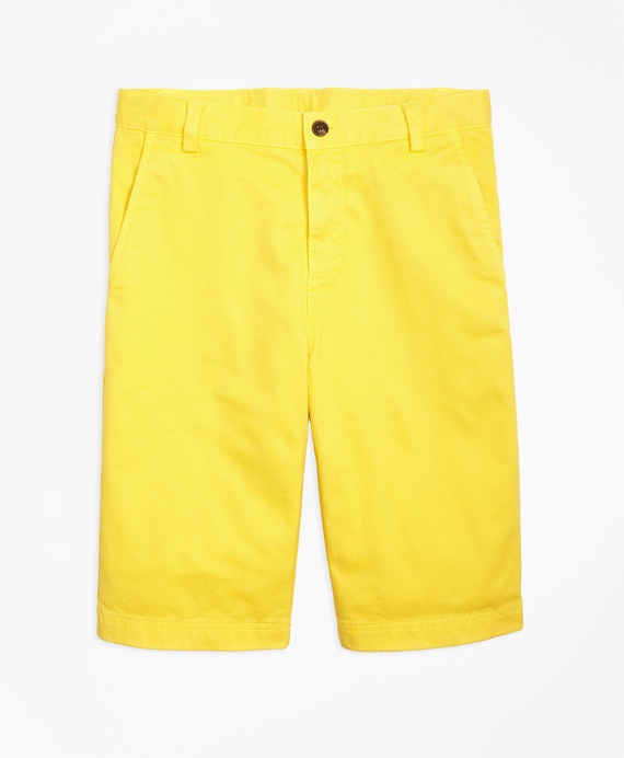 Boys Washed Cotton Stretch Chino Shorts Yellow