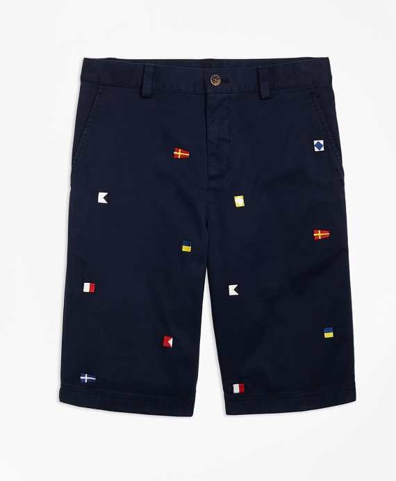 Boys Cotton Nautical Shorts Navy