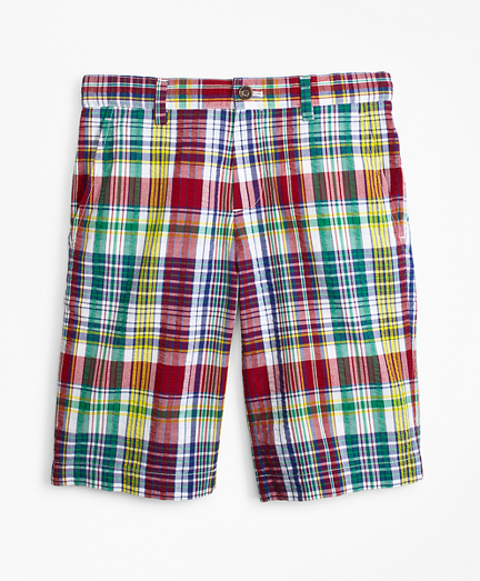 Boys Cotton Madras Seersucker Shorts