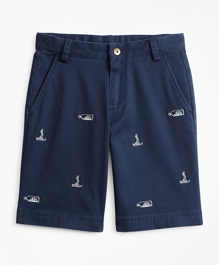 Boys Stretch-Cotton Nautical Embroidered Chino Shorts