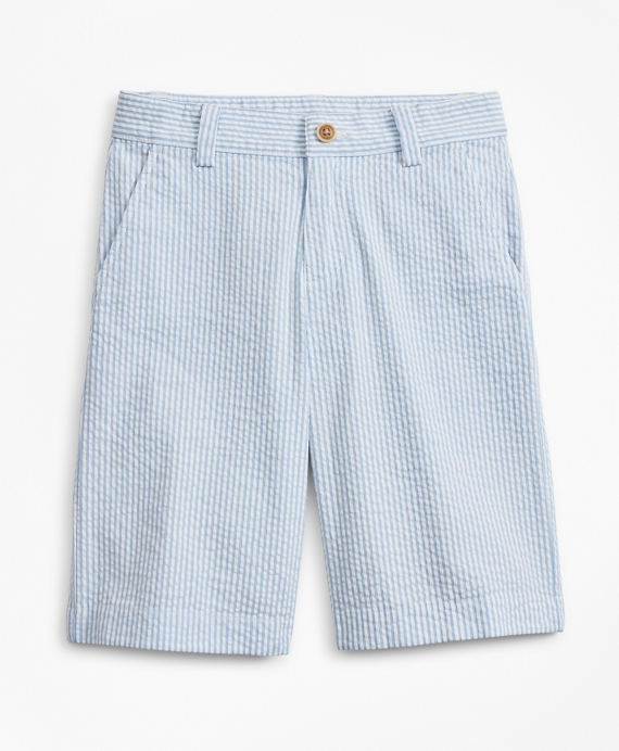 Boys Seersucker Bermuda Shorts Blue-White