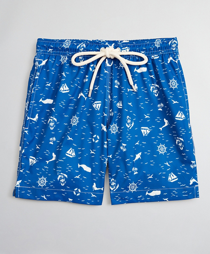 Boys Nautical Print Swim Trunks