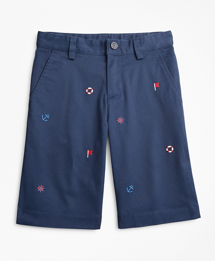 Boys Washed Cotton Embroidered Stretch Chino Shorts