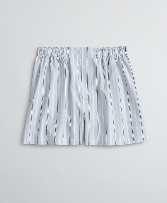 Striped Cotton Broadcloth Boxers Green