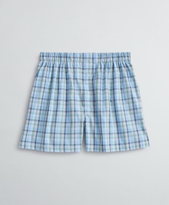 Plaid Cotton Broadcloth Boxers Green