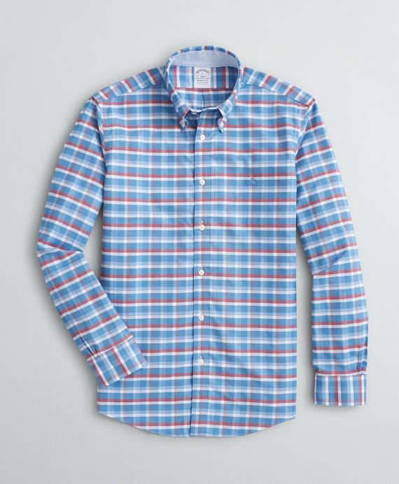 Stretch Regent Regular-Fit Sport Shirt, Non-Iron Grid Oxford Blue