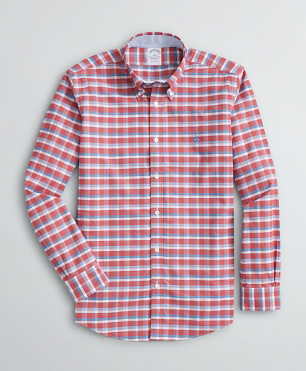 Brooksbrothers Stretch Regent Fit Sport Shirt, Non-Iron Grid Oxford