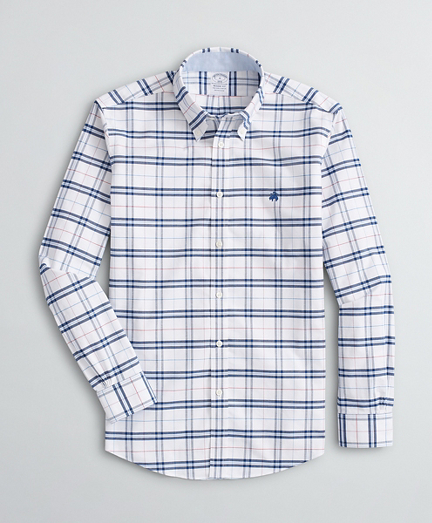 Stretch Regent Regular-Fit Sport Shirt, Non-Iron Plaid Oxford