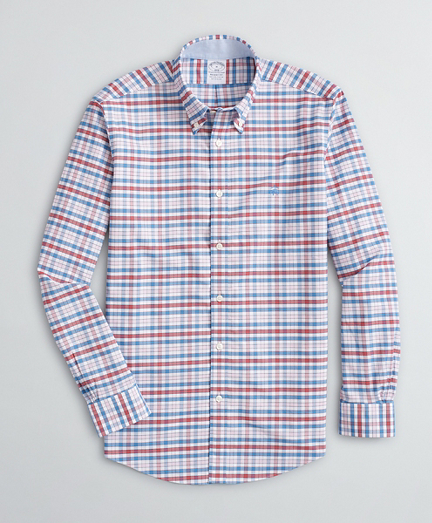 Stretch Regent Fit Sport Shirt, Non-Iron Gingham Oxford