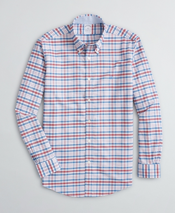Stretch Regent Fit Sport Shirt, Non-Iron Gingham Oxford Rose