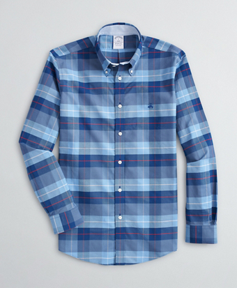 Stretch Regent Fit Sport Shirt, Non-Iron Plaid Oxford