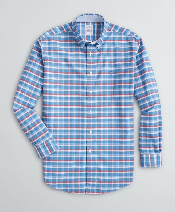 Stretch Madison Classic-Fit Sport Shirt, Non-Iron Grid Oxford Blue