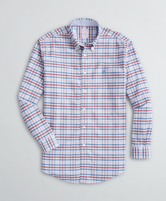 Stretch Madison Relaxed-Fit Sport Shirt, Non-Iron Gingham Oxford Rose