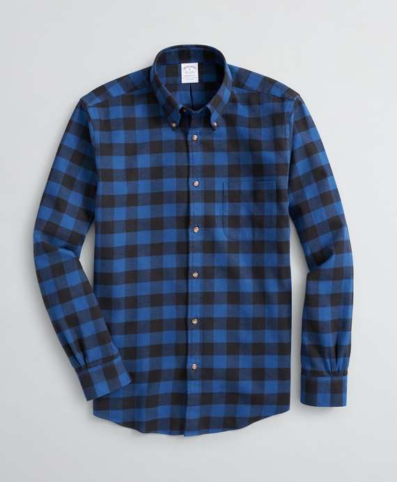 Regent Regular-Fit Sport Shirt, Buffalo Plaid Flannel Sodalite